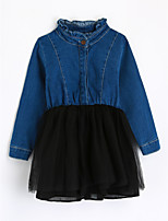 Girls' Color Block Blouse,Cotton Fall Long Sleeve