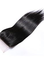18 дюймов сорт 8a 4x4 кружевное закрытие 100% бразильских человеческих волос 3 части / средняя часть / свободная часть # 1b натуральная