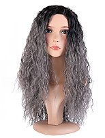 Women Synthetic Wigs Capless Long Curly Jheri Curl Black/Grey Ombre Hair Natural Hairline Layered Haircut Halloween Wig Natural Wig
