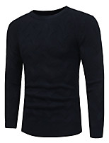 Men's Work Simple Regular Cardigan,Solid Leopard Round Neck Long Sleeves Polyester Fall Winter Medium Micro-elastic