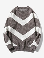 Men's Plus Size Casual/Daily Simple Regular Pullover,Color Block Round Neck Long Sleeves Cotton Polyester Fall Winter Medium Micro-elastic
