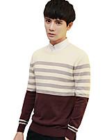 Herren Standard Pullover-Lässig/Alltäglich Übergröße Ausgehen Retro Einfach Street Schick Solide Gestreift Druck Rundhalsausschnitt