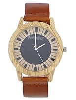 Men's Women's Fashion Watch Wrist watch Unique Creative Watch Wood Watch Chinese Quartz Leather Band Vintage Charm Elegant Casual Black
