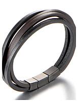 Men's Cuff Bracelet Leather Bracelet Jewelry Fashion Personalized Leather Titanium Steel Geometric Jewelry For Daily Casual