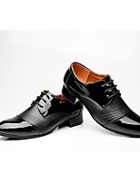 Men's Latin Real Leather Oxford Outdoor Splicing Chunky Heel Black 2