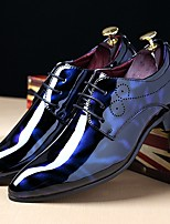 Men's Shoes Patent Leather Fall Winter Comfort Oxfords Lace-up For Casual Party & Evening Black Royal Blue Burgundy