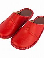Для женщин Тапочки и Шлепанцы Удобная обувь Весна Осень Натуральная кожа Повседневные Комбинация материалов На плоской подошве Пурпурный