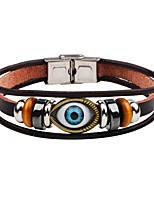 Men's Leather Bracelet Handmade Punk Leather Alloy Evil Eye Jewelry For Stage Street