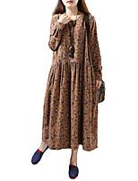 Для женщин На каждый день Офис Большие размеры Простое Свободный силуэт Прямое Платье Однотонный,V-образный вырез Макси Длинный рукав