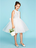 Ball Gown Crew Neck Knee Length Lace Tulle Junior Bridesmaid Dress with Bow(s) by LAN TING BRIDE®