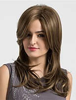 Women Synthetic Wig Capless Medium Water Wave Copper Brown African American Wig With Bangs Natural Wigs Costume Wig