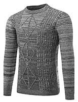 Для мужчин На каждый день Офис Простое Активный Шинуазери (китайский стиль) Обычный Пуловер Однотонный,Круглый вырез Длинный рукав Хлопок