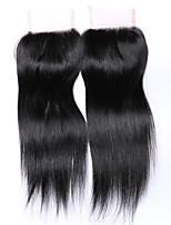 20 pulgadas de grado 8a 4x4 cierre de encaje tapa 100% pelo humano brasileño 3 parte / parte media / parte libre # 1b cierre de cabello