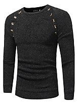 Men's Casual/Daily Work Simple Street chic Sophisticated Regular Pullover,Solid Round Neck Long Sleeves Wool Polyester Fall Winter Medium