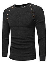 Для мужчин На каждый день Офис Простое Уличный стиль Изысканный Обычный Пуловер Однотонный,Круглый вырез Длинный рукав Шерсть Полиэстер