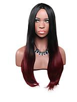 Mujer Pelucas sintéticas Sin Tapa Largo Liso Vino oscuro Pelo Ombre Peluca de fiesta Peluca de Halloween Peluca de carnaval Peluca de