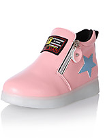 Girls' Flats Light Up Shoes Comfort Novelty Fall Winter PU Casual Outdoor Zipper Flat Heel Blushing Pink Red Yellow Black Flat