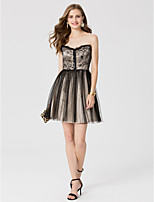 A-Line Princess Jewel Neck Short / Mini Lace Tulle Cocktail Party Dress with Sequins Pleats by TS Couture®