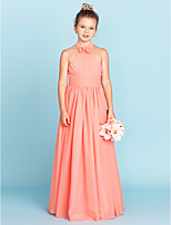 A-Line Princess Halter Floor Length Chiffon Junior Bridesmaid Dress with Flower(s) Sashes / Ribbons by LAN TING BRIDE®