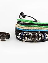 Homme Bracelets Bagues Croix Mode Cuir Alliage Forme de Croix Bijoux Pour Décontracté Sortie