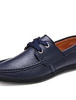 Masculino Oxfords Conforto Verão Outono Courino Pele Casual Combinação Rasteiro Preto Azul Escuro Marron Rasteiro