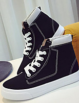Women's Shoes Canvas Spring Fall Comfort Sneakers With Lace-up For Casual Black White