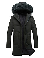 Пальто Простое Уличный стиль Длинная Пуховик Для мужчин,Однотонный На каждый день Большие размеры Хлопок Полипропилен,Длинный рукав