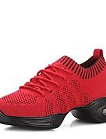 Для женщин Танцевальные кроссовки Трикотаж Кроссовки Для открытой площадки На низком каблуке Белый Черный Красный 2,5 - 4,5 см