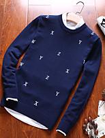 Для мужчин На каждый день Обычный Пуловер Однотонный,Круглый вырез Длинный рукав Хлопок Осень Зима Средняя Слабоэластичная