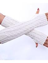 Для женщин Зимние перчатки До локтя Полупальцами,Весна/осень Зима Акрил Однотонный