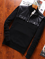 Men's Plus Size Casual/Daily Simple Active Punk & Gothic Regular Pullover,Solid Stand Long Sleeves Cotton All Seasons Medium Micro-elastic