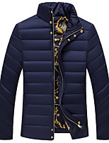 Men's Regular Padded Coat,Simple Going out Casual/Daily Solid-Cotton Polypropylene Long Sleeves