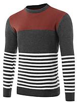 Для мужчин На каждый день Офис Простое Активный Шинуазери (китайский стиль) Обычный Пуловер Полоски Контрастных цветов,Круглый вырез