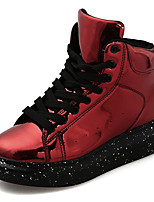 Women's Sneakers Comfort Fashion Boots Bootie Fall Winter Synthetic Microfiber PU Casual Party & Evening Lace-up Flat Heel Red Silver