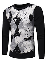 Men's Casual/Daily Simple Regular Pullover,Print Round Neck Long Sleeves Polyester Fall Winter Medium Micro-elastic