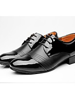 Men's Latin Real Leather Oxford Outdoor Splicing Chunky Heel Black 1