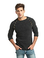 Men's Casual/Daily Work Simple Street chic Punk & Gothic Regular Pullover,Solid Round Neck Long Sleeves Rabbit Fur Polyester Fall Winter