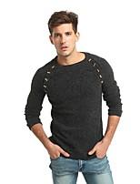 Для мужчин На каждый день Офис Простое Уличный стиль Панк & Готика Обычный Пуловер Однотонный,Круглый вырез Длинный рукав Кроличий мех