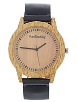 Hombre Mujer Reloj de Moda Reloj de Pulsera Reloj creativo único Reloj Madera Chino Cuarzo Piel Banda Cosecha Encanto Casual Elegantes