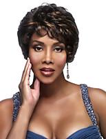 Mujer Pelucas sintéticas Sin Tapa Corto Ondulado Marrón Oscuro / Dark Auburn Pelo reflectante/balayage Para mujeres de color Peluca