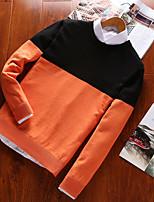 Для мужчин На каждый день Большие размеры Простое Активный Панк & Готика Обычный Пуловер Контрастных цветов,Круглый вырез Длинный рукав