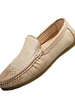 Men's Loafers & Slip-Ons Moccasin Comfort Spring Fall PU Casual Ruched Flat Heel Khaki Orange Black Flat