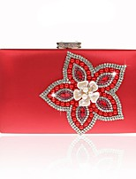 Women Bags All Seasons PU Evening Bag with Flower for Event/Party Gold Black Silver Red Fuchsia