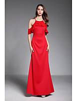 Sheath / Column Off-the-shoulder Floor Length Spandex Chiffon Formal Evening Dress with Cascading Ruffles by YIYIAI