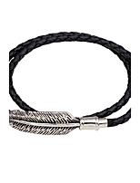 Men's Women's Leather Bracelet Vintage Personalized Leather Alloy Round Feather Jewelry For Casual Going out