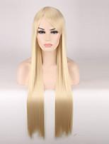 Mujer Pelucas sintéticas Sin Tapa Largo Liso Rubio fresa Peluca de cosplay Las pelucas del traje