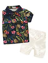 Boys' Floral Sets,Cotton Summer Short Sleeve Clothing Set