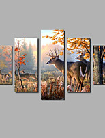 Fashion Art Design Canvas Painting Forest Animals Five Panels Prints & Posters Elk Wall Decor For Home Decoration