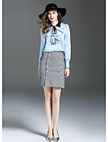 ANGEL Women's Going out Cute Fall T-shirt Skirt Suits,Color Block Peter Pan Collar Long Sleeve Micro-elastic