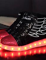 Garçon Basket Nouveauté Chaussures Lumineuses Confort Automne Hiver Polyuréthane Décontracté Scotch Magique Lacet Talon Plat Blanc Noir